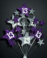 STAR AGE 13TH BIRTHDAY CAKE TOPPER DECORATION IN PURPLE AND SILVER - Free postage